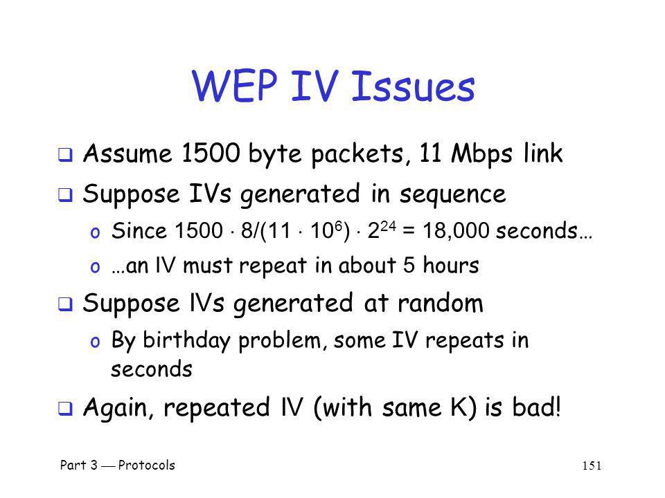 WEP IV Issues Assume 1500 byte packets, 11 Mbps link