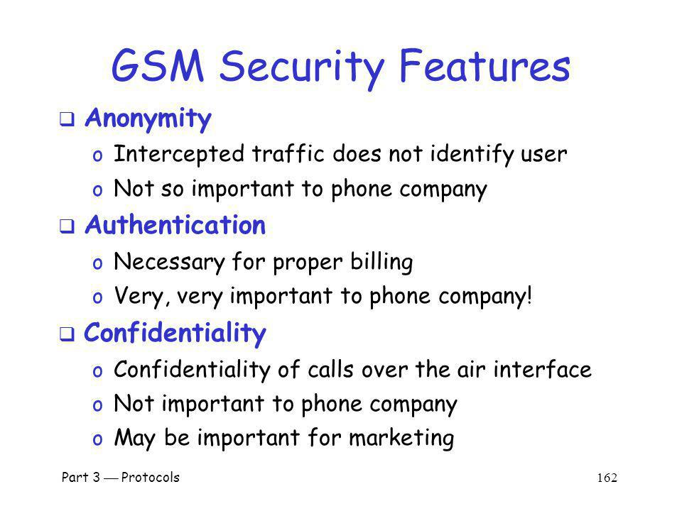 GSM Security Features Anonymity Authentication Confidentiality