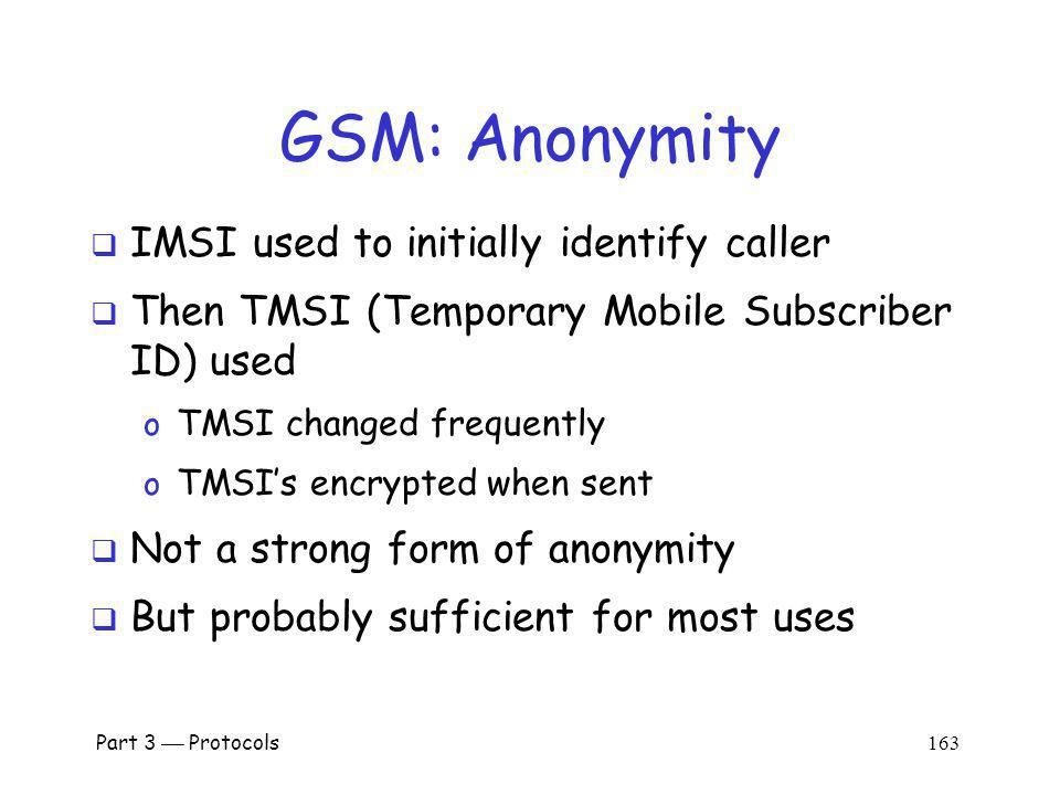 GSM: Anonymity IMSI used to initially identify caller