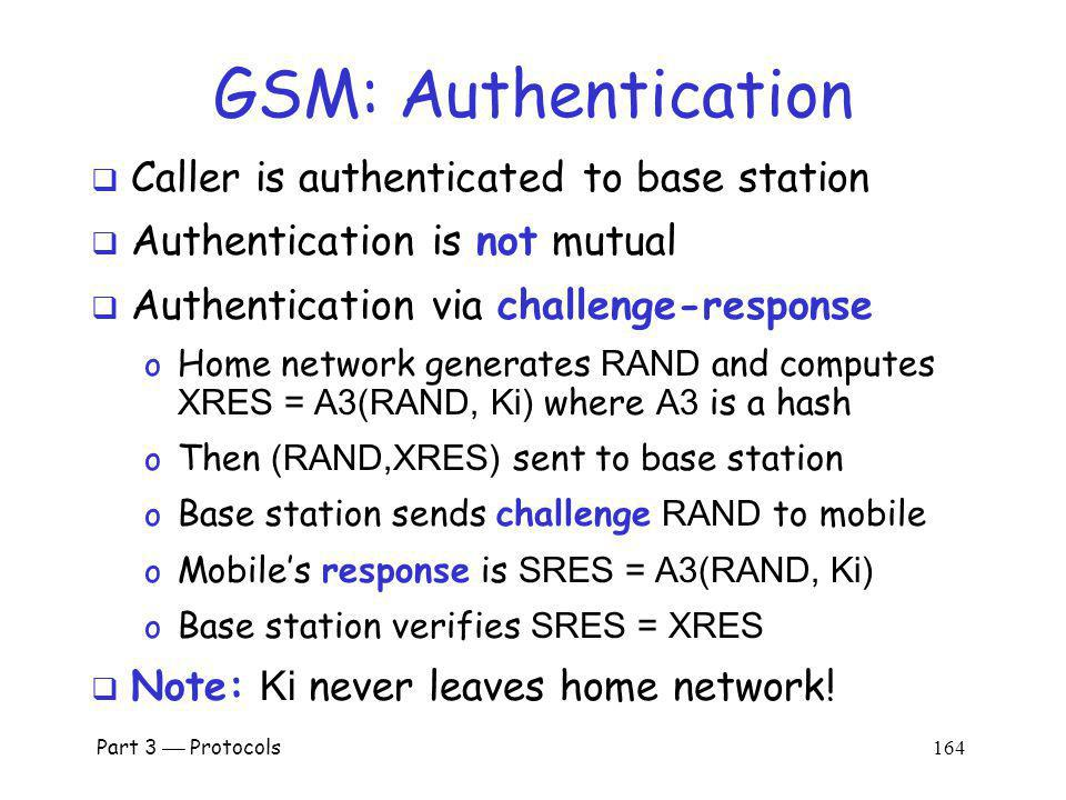 GSM: Authentication Caller is authenticated to base station