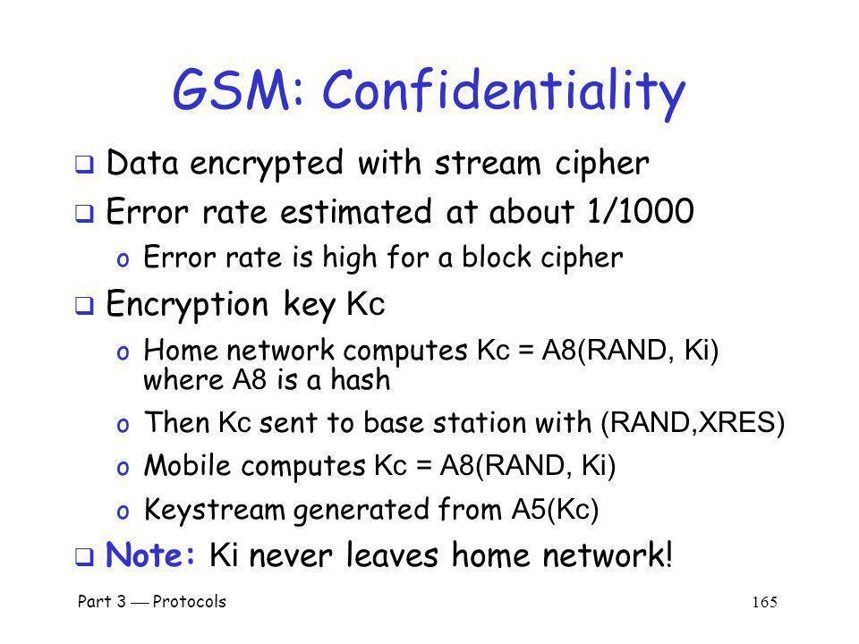 GSM: Confidentiality Data encrypted with stream cipher