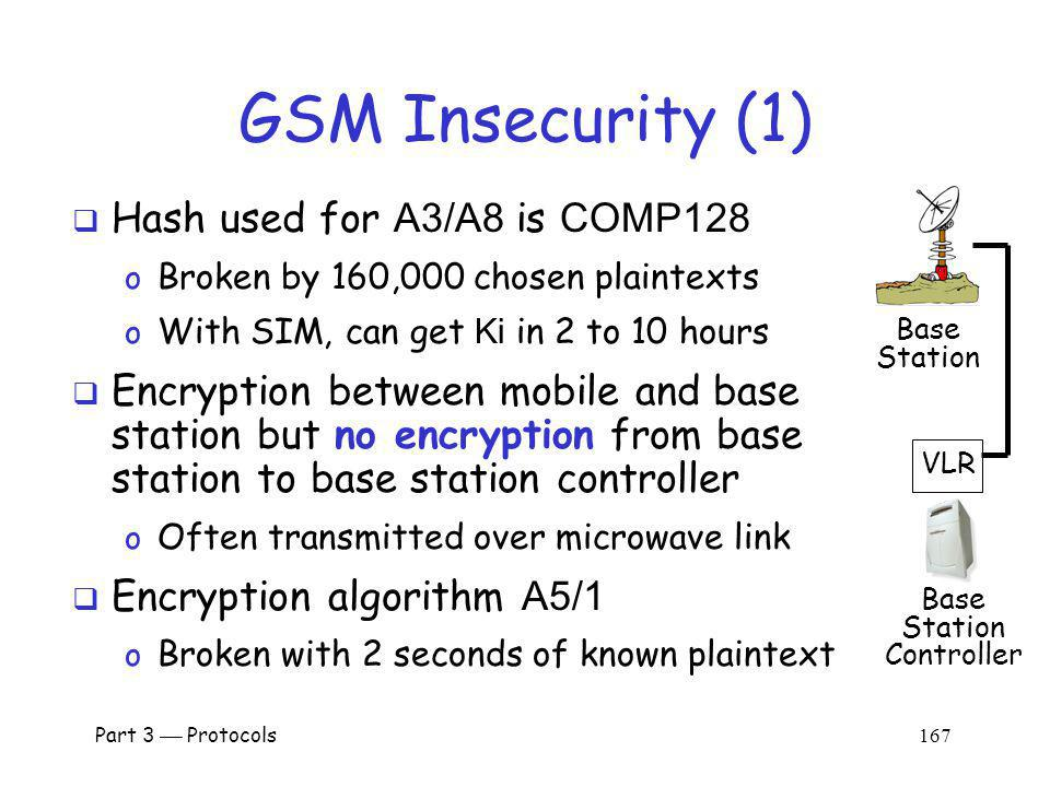 GSM Insecurity (1) Hash used for A3/A8 is COMP128