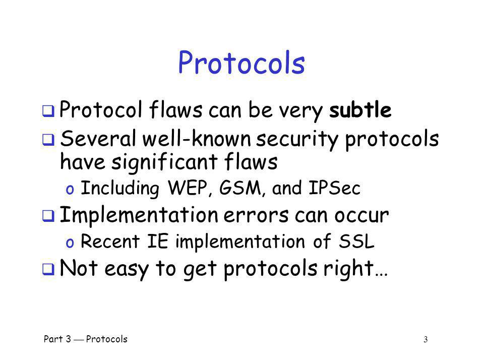 Protocols Protocol flaws can be very subtle