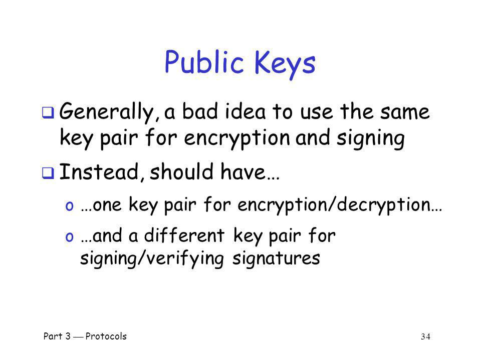 Public Keys Generally, a bad idea to use the same key pair for encryption and signing. Instead, should have…