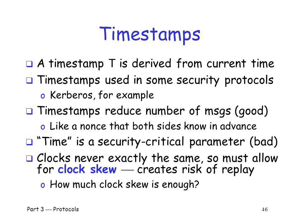 Timestamps A timestamp T is derived from current time