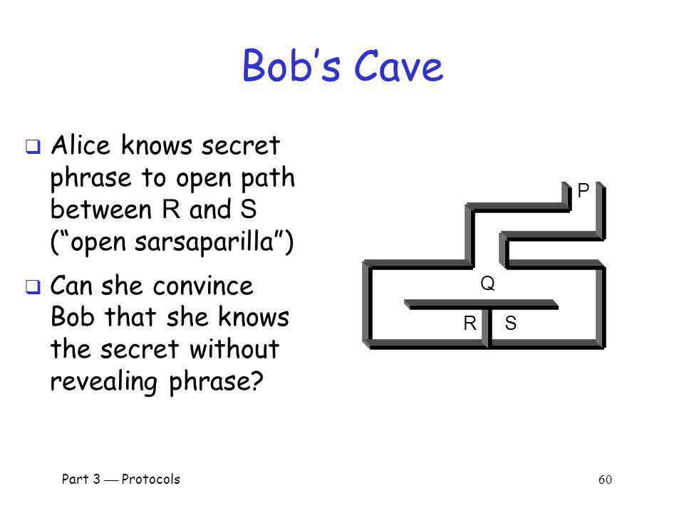 Bob's Cave Alice knows secret phrase to open path between R and S ( open sarsaparilla )