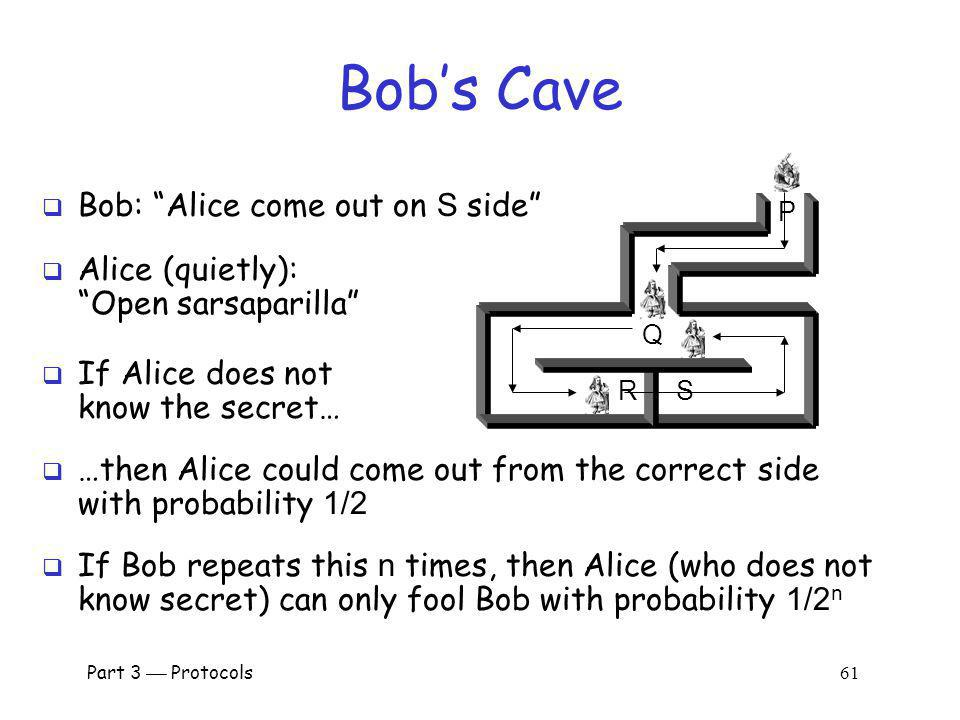 Bob's Cave Bob: Alice come out on S side