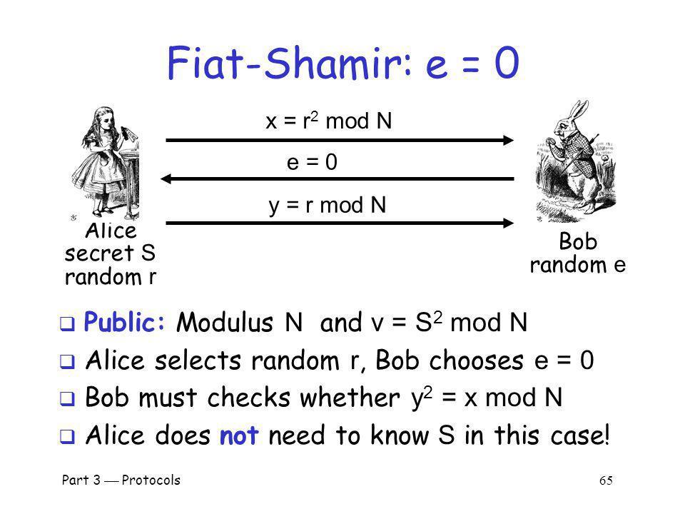 Fiat-Shamir: e = 0 Public: Modulus N and v = S2 mod N