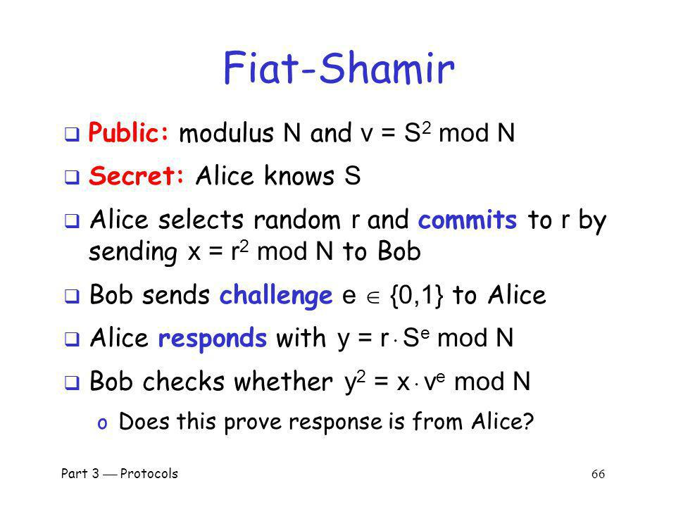 Fiat-Shamir Public: modulus N and v = S2 mod N Secret: Alice knows S