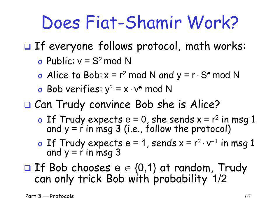 Does Fiat-Shamir Work If everyone follows protocol, math works:
