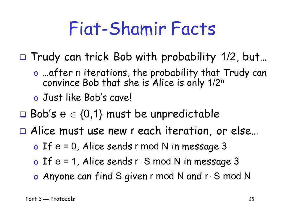 Fiat-Shamir Facts Trudy can trick Bob with probability 1/2, but…