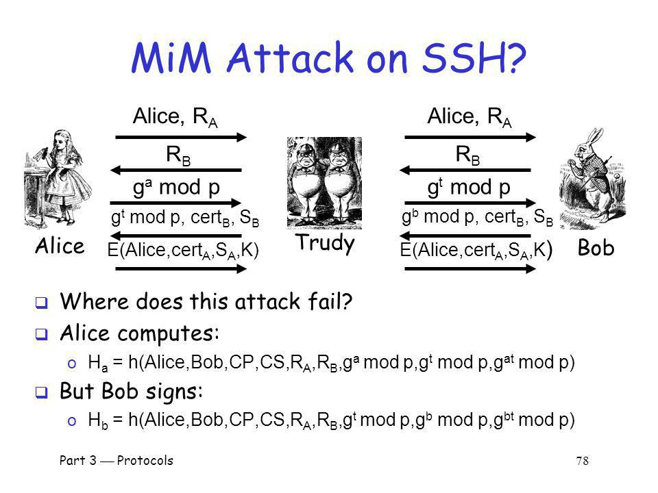 MiM Attack on SSH Alice, RA Alice, RA RB RB ga mod p gt mod p Alice