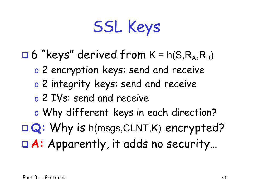 SSL Keys 6 keys derived from K = h(S,RA,RB)