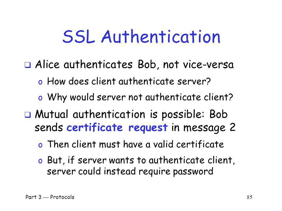 SSL Authentication Alice authenticates Bob, not vice-versa