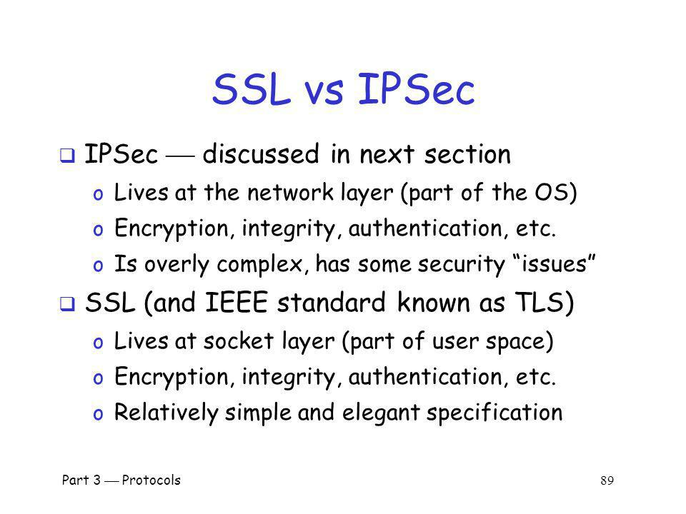 SSL vs IPSec IPSec  discussed in next section
