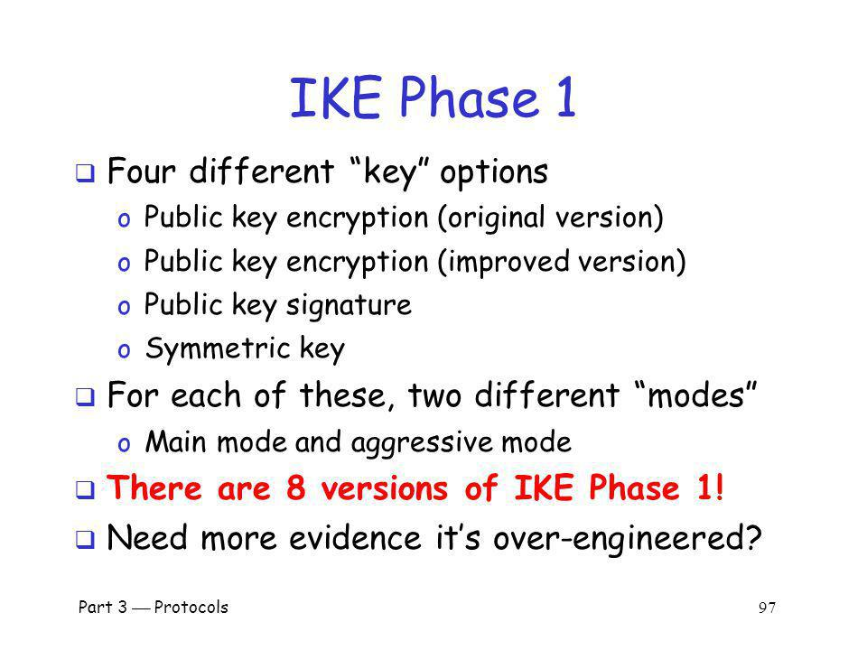 IKE Phase 1 Four different key options
