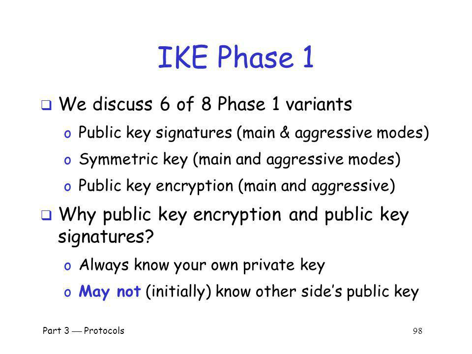 IKE Phase 1 We discuss 6 of 8 Phase 1 variants