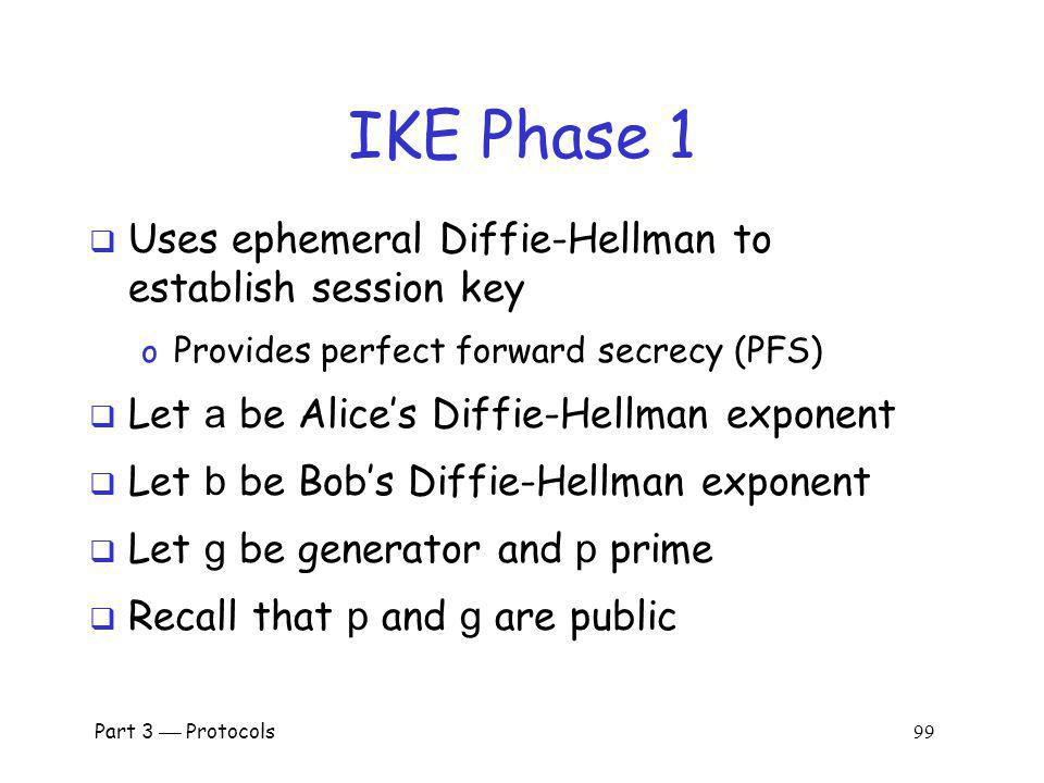 IKE Phase 1 Uses ephemeral Diffie-Hellman to establish session key