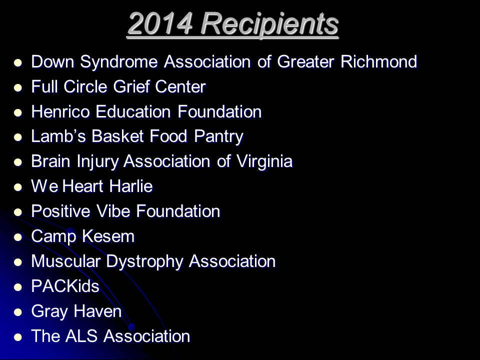 2014 Recipients Down Syndrome Association of Greater Richmond