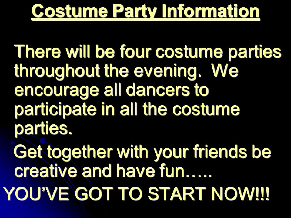 Costume Party Information