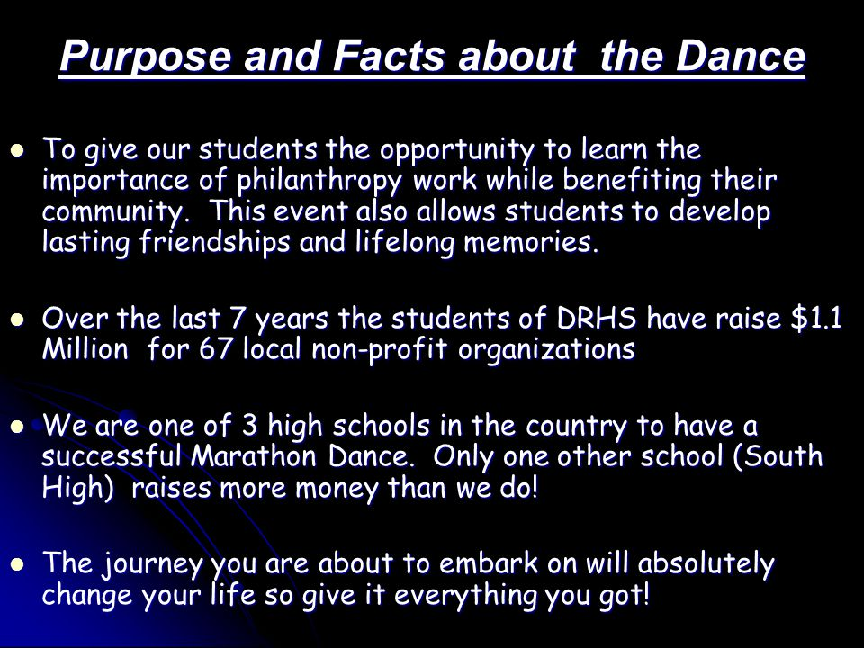 Purpose and Facts about the Dance