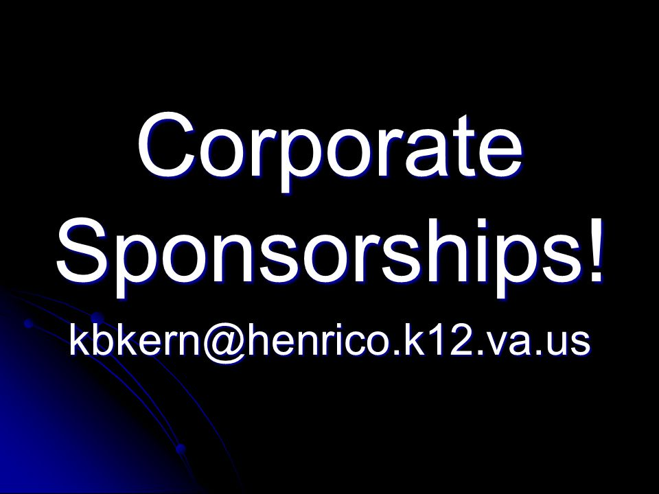 Corporate Sponsorships!