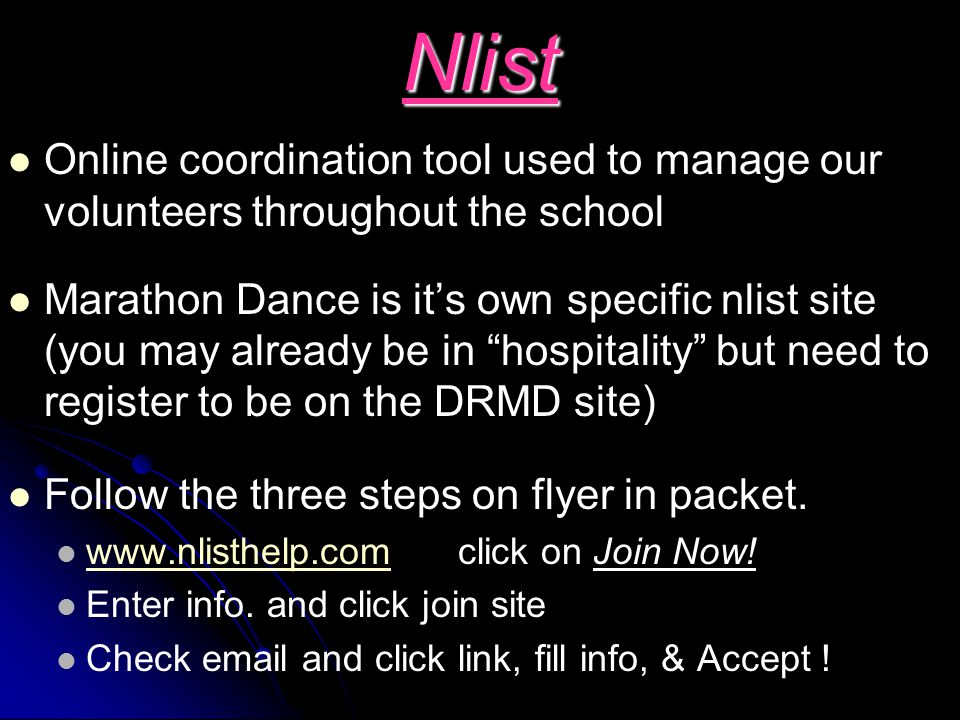 Nlist Online coordination tool used to manage our volunteers throughout the school.