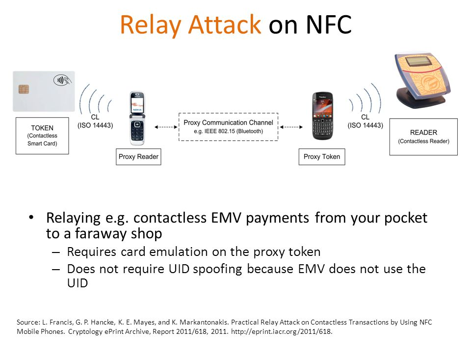 Relay Attack on NFC Relaying e.g. contactless EMV payments from your pocket to a faraway shop. Requires card emulation on the proxy token.