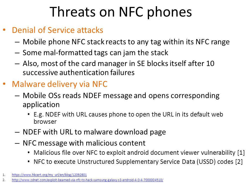 Threats on NFC phones Denial of Service attacks