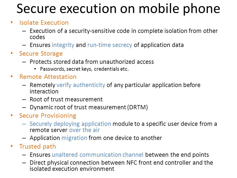 Secure execution on mobile phone