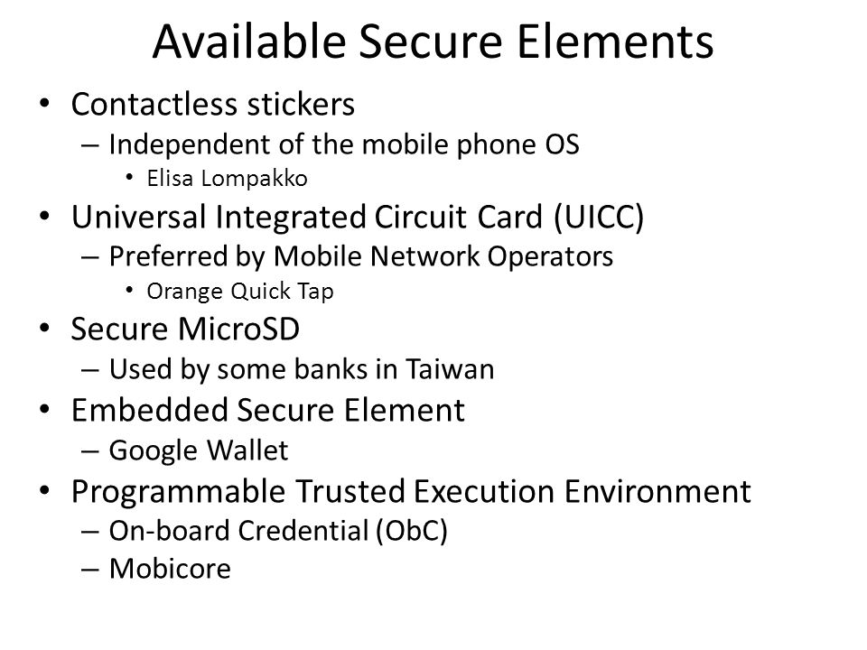 Available Secure Elements