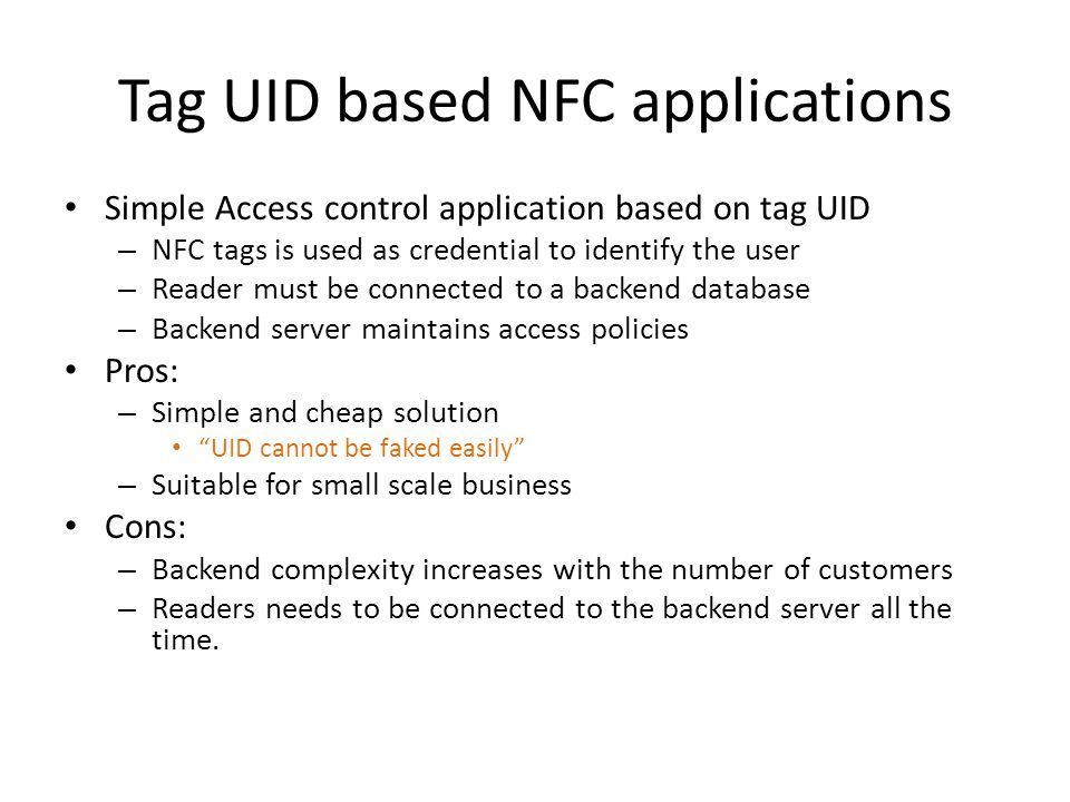 Tag UID based NFC applications