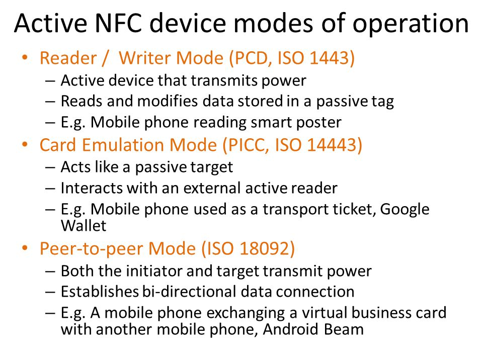 Active NFC device modes of operation
