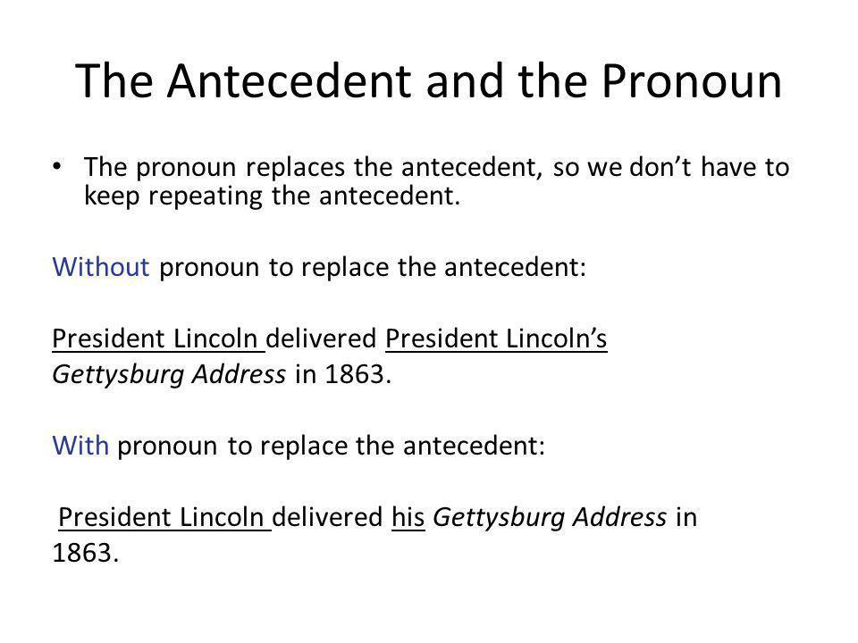 The Antecedent and the Pronoun