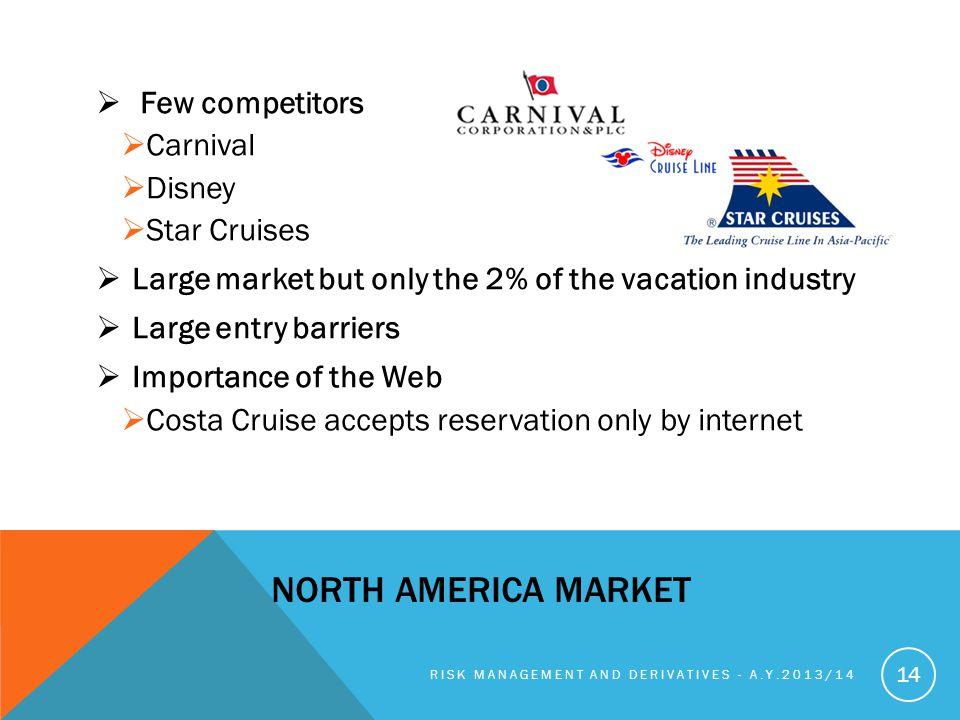 NORTH AMERICA MARKET Few competitors Carnival Disney Star Cruises