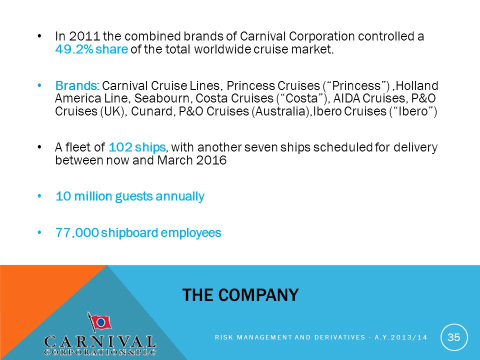 In 2011 the combined brands of Carnival Corporation controlled a 49