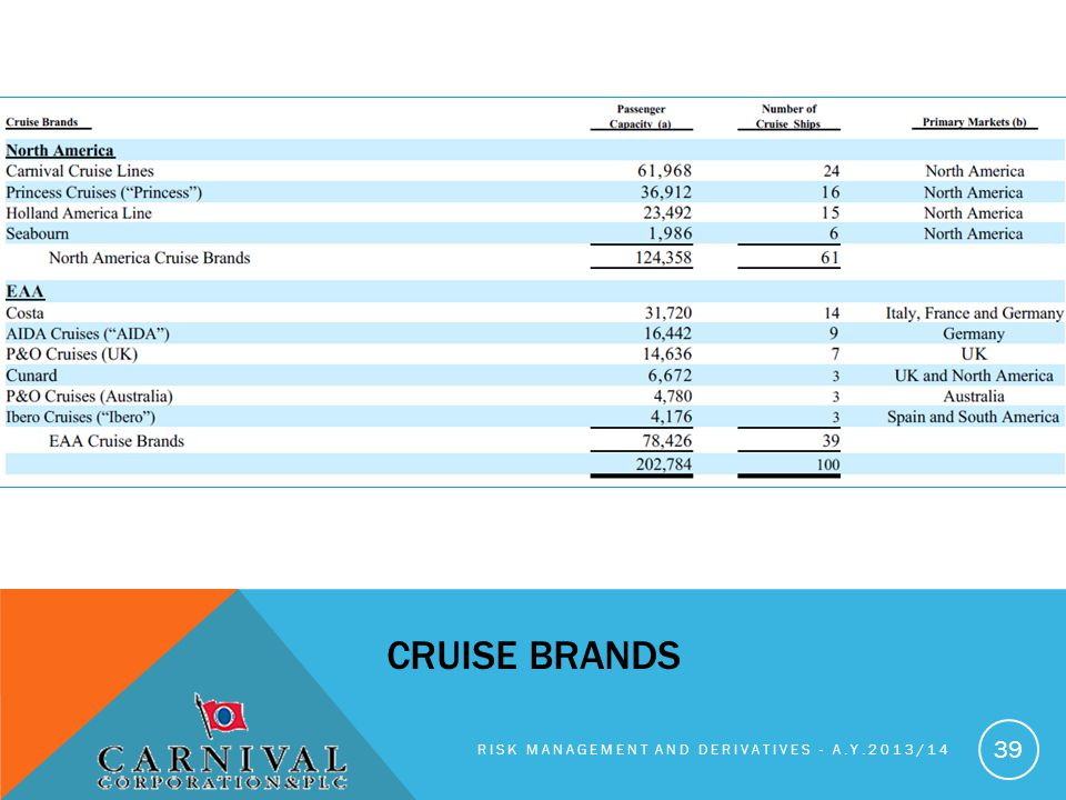 cruise brands Risk management and derivatives - A.y.2013/14