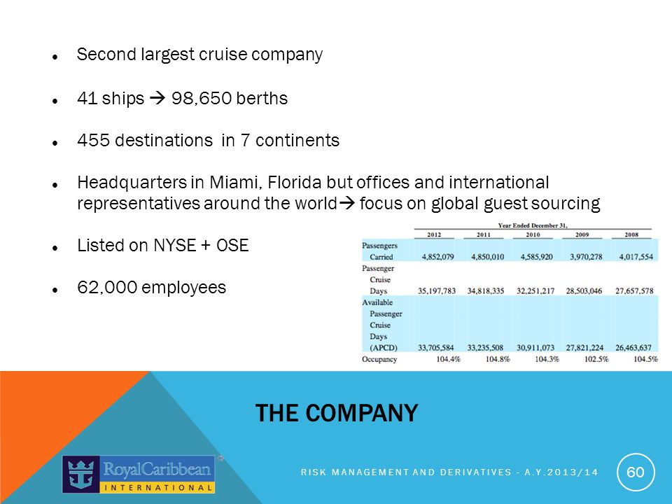The company Second largest cruise company 41 ships  98,650 berths
