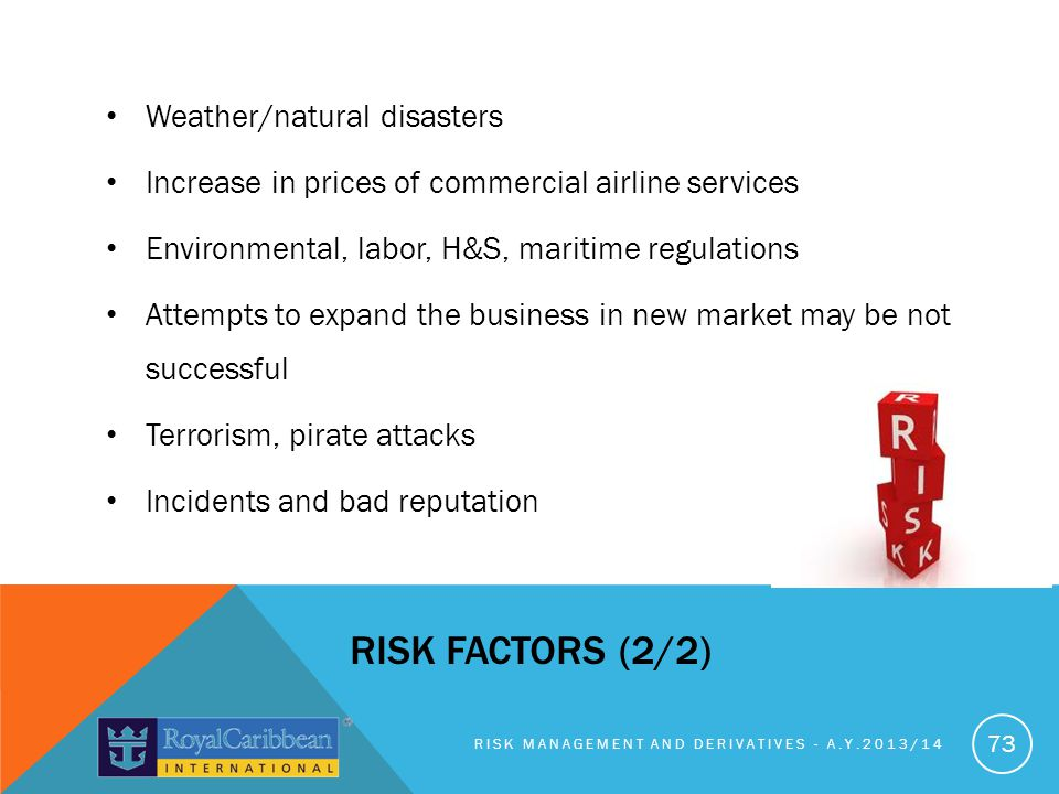Risk factors (2/2) Weather/natural disasters