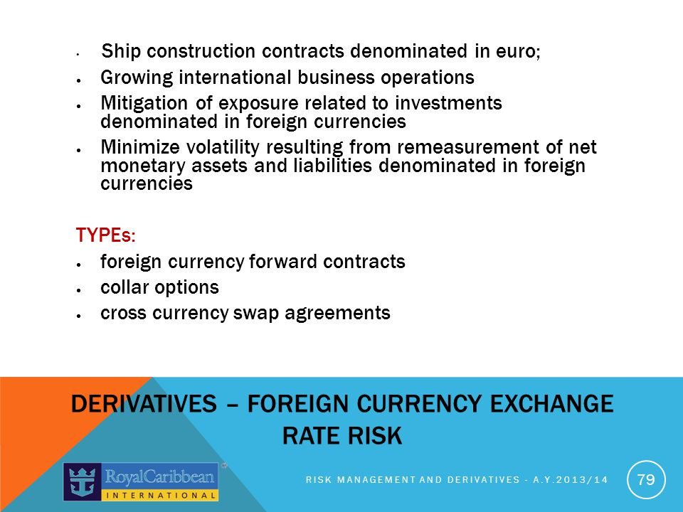 DERIVATIVES – FOREIGN CURRENCY EXCHANGE RATE RISK