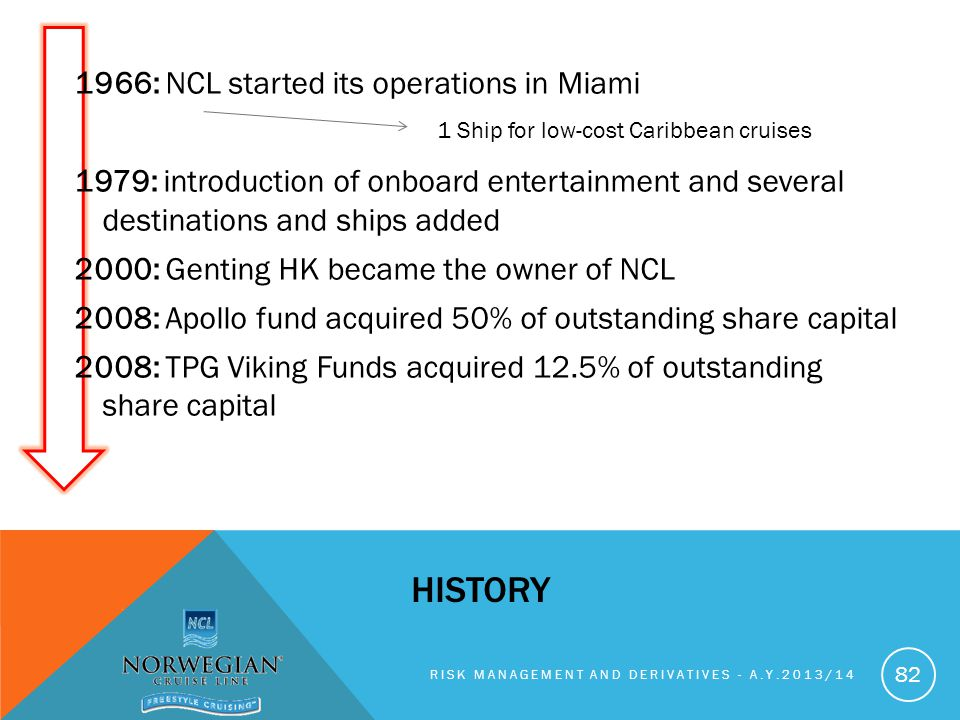 1966: NCL started its operations in Miami 1979: introduction of onboard entertainment and several destinations and ships added 2000: Genting HK became the owner of NCL 2008: Apollo fund acquired 50% of outstanding share capital 2008: TPG Viking Funds acquired 12.5% of outstanding share capital