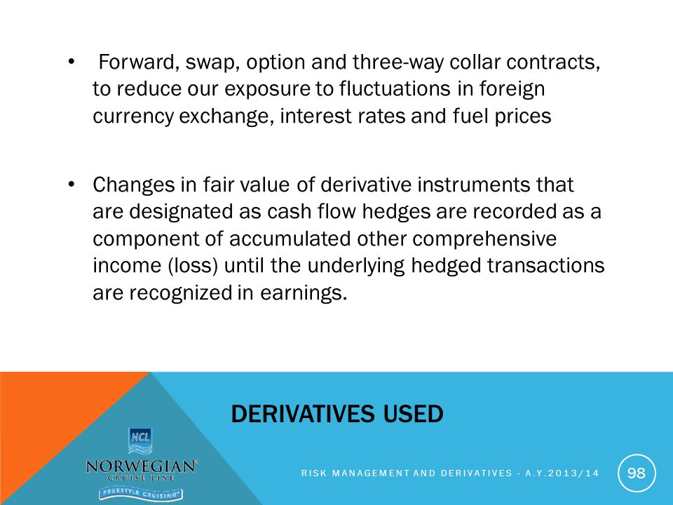Forward, swap, option and three-way collar contracts, to reduce our exposure to fluctuations in foreign currency exchange, interest rates and fuel prices