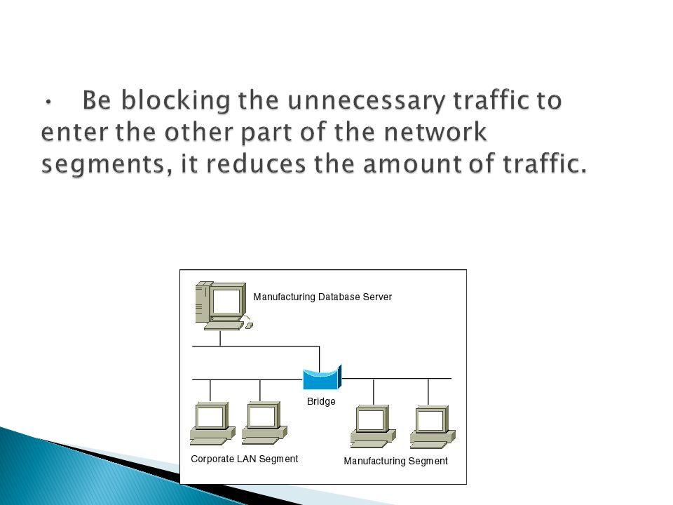 Be blocking the unnecessary traffic to enter the other part of the network segments, it reduces the amount of traffic.