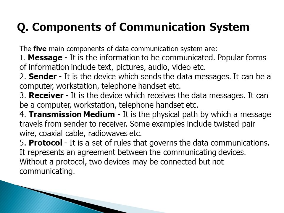 Q. Components of Communication System