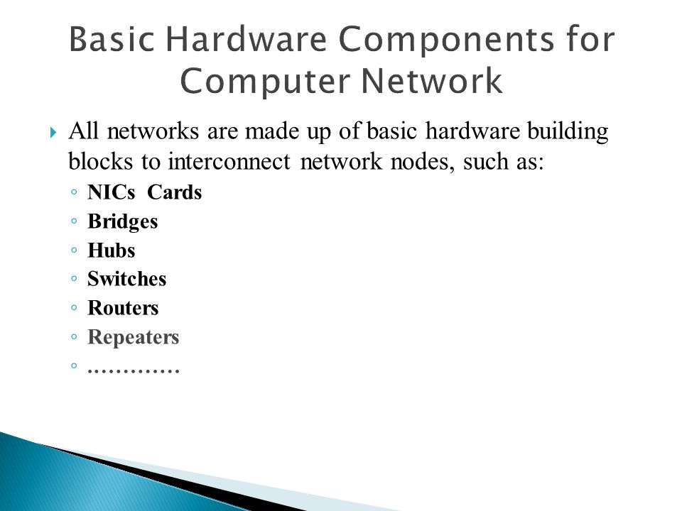 Basic Hardware Components for Computer Network