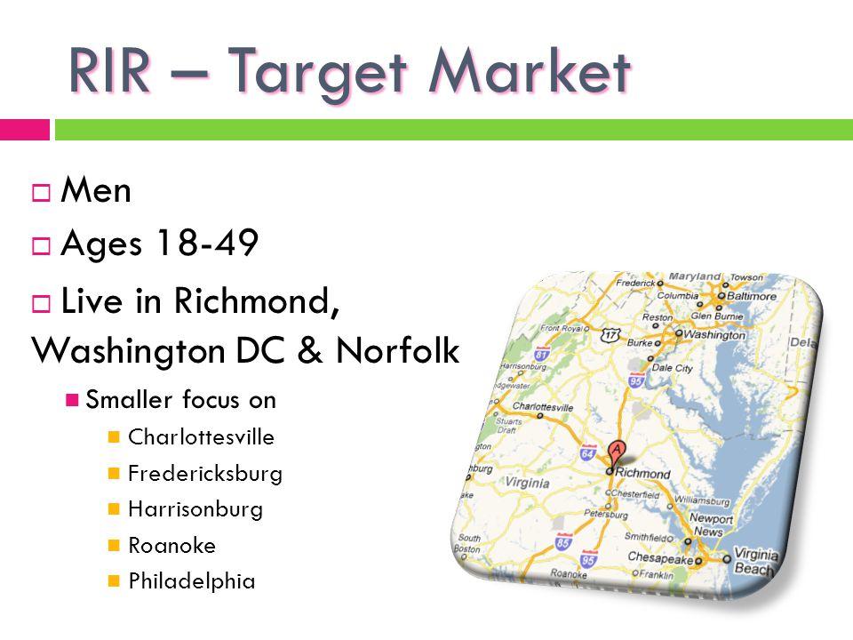 RIR – Target Market Men Ages 18-49