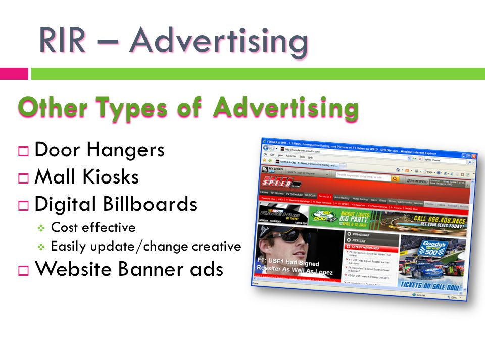 RIR – Advertising Other Types of Advertising Door Hangers Mall Kiosks