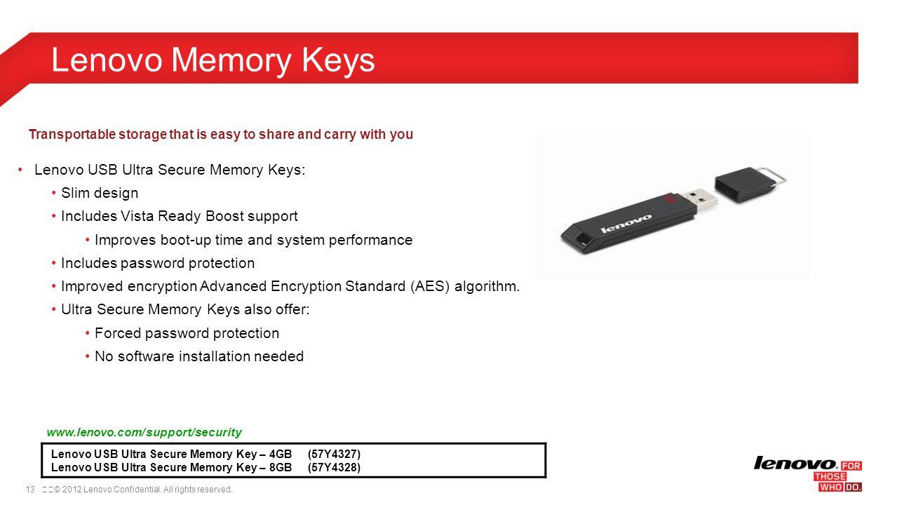 Lenovo Memory Keys Lenovo USB Ultra Secure Memory Keys: Slim design