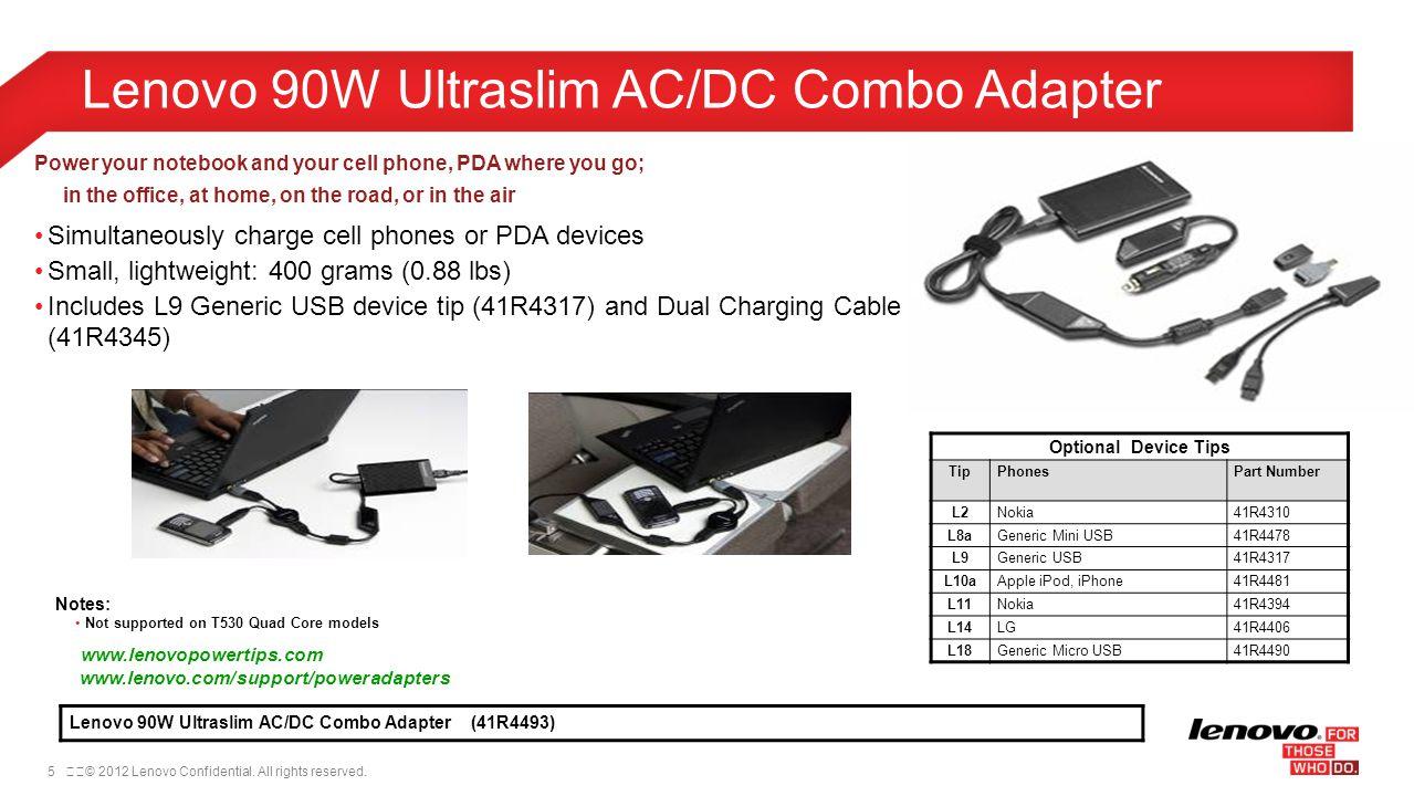 Lenovo 90W Ultraslim AC/DC Combo Adapter