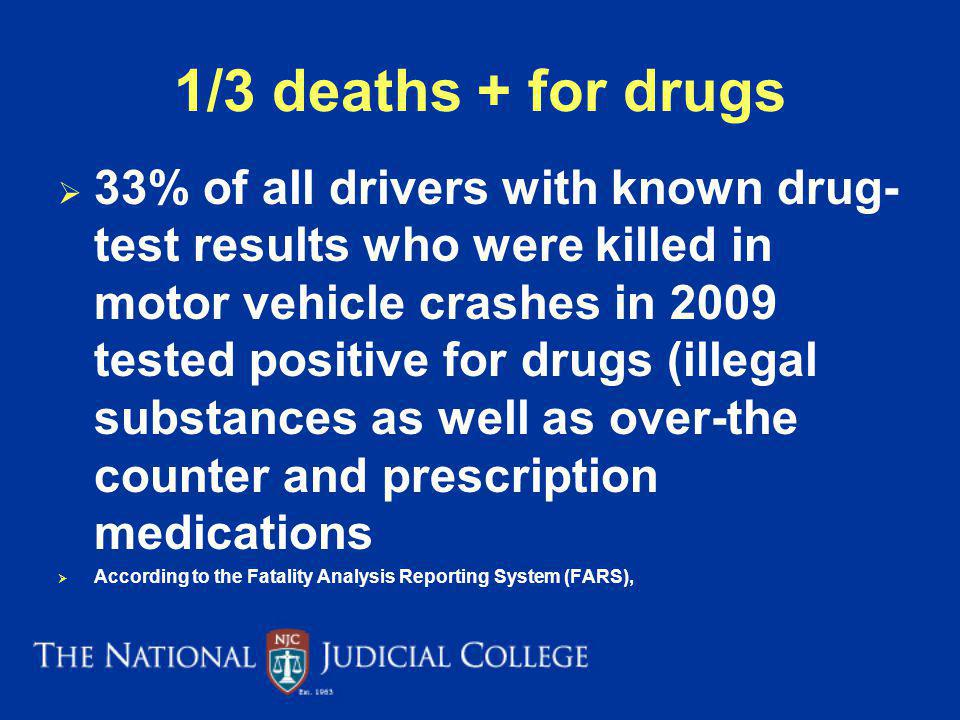 1/3 deaths + for drugs